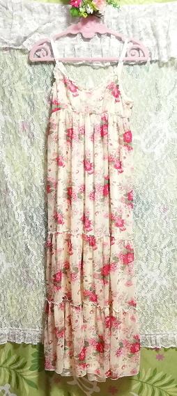 黄色花柄シフォンキャミソールロングスカートマキシワンピース Yellow flower pattern chiffon camisole long skirt maxi onepiece_画像4