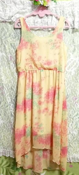 黄色淡い花柄ノースリーブシフォンロングスカートマキシワンピース Yellow flower pattern sleeveless chiffon long skirt maxi onepiece_画像5