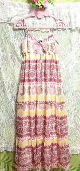 黄色ピンク白エスニックシフォンキャミソールスカートマキシワンピース Yellow pink white ethnic chiffon camisole skirt maxi onepiece_画像5
