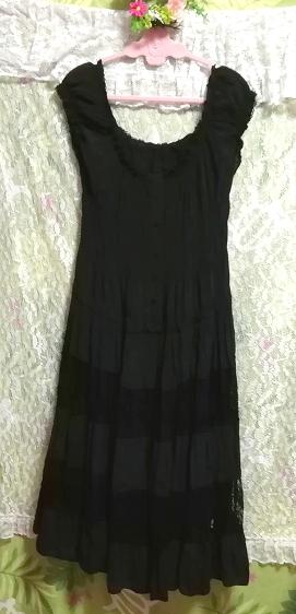 黒レースシフォンロングスカートマキシワンピース Black lace chiffon long skirt maxi onepiece_画像4