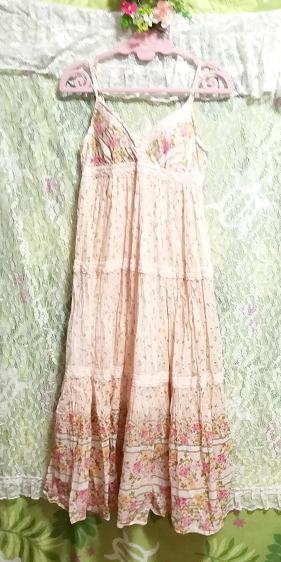 ピンク花柄綿コットン100%キャミソールロングスカートワンピースネグリジェ Pink flower pattern cotton camisole skirt dress/negligee_画像5