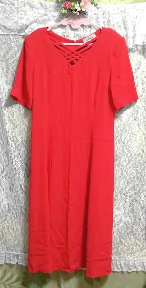 赤レッド半袖チュニックスカート/トップス/ワンピース Red red short sleeve tunic skirt/tops/onepiece_画像1