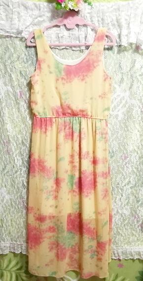 黄色淡い花柄ノースリーブシフォンロングスカートマキシワンピース Yellow flower pattern sleeveless chiffon long skirt maxi onepiece_画像6