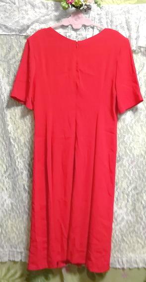 赤レッド半袖チュニックスカート/トップス/ワンピース Red red short sleeve tunic skirt/tops/onepiece_画像2