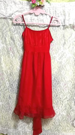 絹シルク100%真紅赤腰紐付キャミソールシフォンワンピースドレス Silk 100% crimson red camisole chiffon onepiece dress_画像4