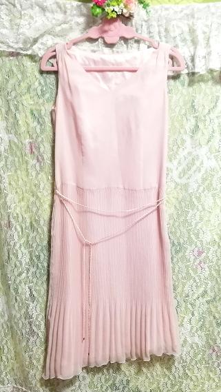 ピンクシフォンノースリーブ斜めカットスカートワンピース Pink chiffon sleeveless diagonal cut skirt dress_画像4