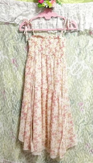 フローラルホワイト淡いピンク花柄シフォンキャミソールロングスカートワンピース Floral white flower chiffon camisole skirt/onepiece_画像5