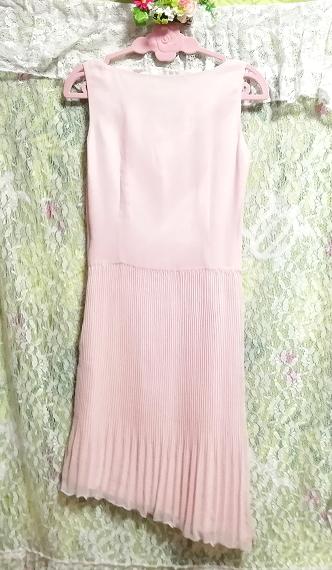 ピンクシフォンノースリーブ斜めカットスカートワンピース Pink chiffon sleeveless diagonal cut skirt dress_画像5