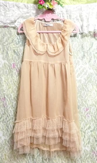 亜麻色裾レースシフォンノースリーブチュニック/トップス/ワンピース Flax color lace chiffon sleeveless tunic/tops/onepiece_画像4