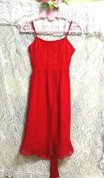 絹シルク100%真紅赤腰紐付キャミソールシフォンワンピースドレス Silk 100% crimson red camisole chiffon onepiece dress_画像5