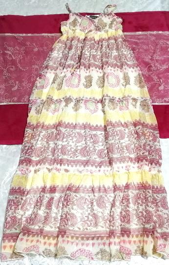 黄色ピンク白エスニックシフォンキャミソールスカートマキシワンピース Yellow pink white ethnic chiffon camisole skirt maxi onepiece_画像1
