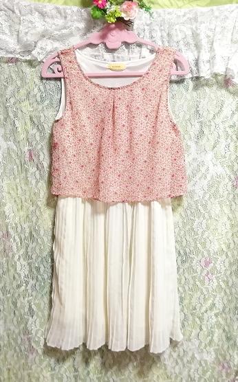ピンク花柄トップス白チュールスカートシフォンミニスカートワンピース Pink floral pattern tops white skirt chiffon skirt onepiece_画像1