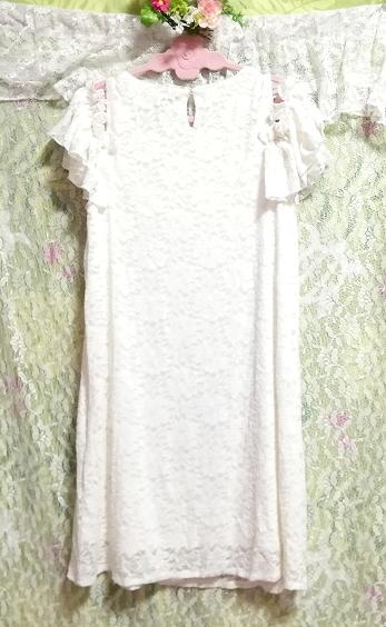 白ホワイト肩レース半袖チュニック/トップス/ワンピース White shoulder lace short sleeve tunic/tops/onepiece_画像3