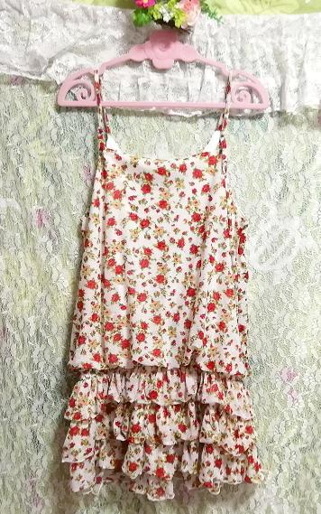 赤白フリルレースキュロットキャミソールネグリジェ/チュニック/トップス Red white ruffle lace culotte camisole negligee/tunic/tops_画像4