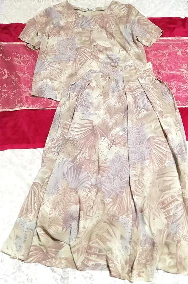 亜麻色ベージュ葉柄シフォンツーピーストップスとロングスカート2点セット Flax color beige petiole chiffon tops long skirt 2 piece set_画像1