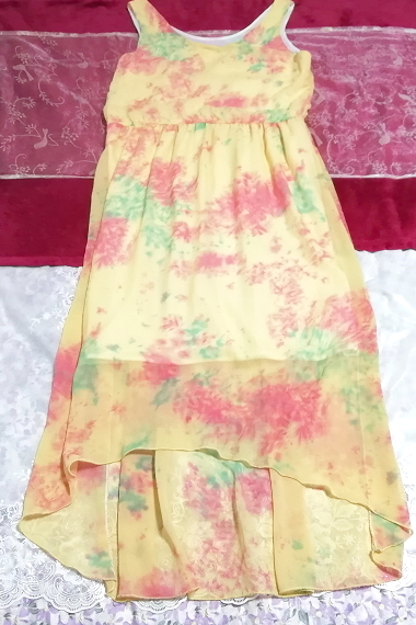 黄色淡い花柄ノースリーブシフォンロングスカートマキシワンピース Yellow flower pattern sleeveless chiffon long skirt maxi onepiece_画像1