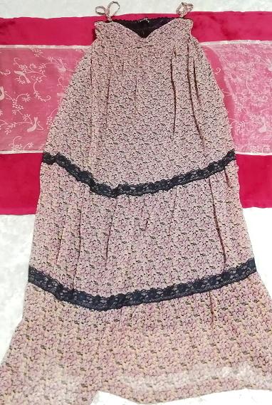 ピンク紫花柄シフォン紺レースキャミソールスカートマキシワンピース Pink purple flower chiffon navy lace camisole skirt maxi onepiece_画像1