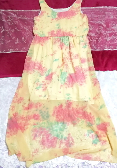 黄色淡い花柄ノースリーブシフォンロングスカートマキシワンピース Yellow flower pattern sleeveless chiffon long skirt maxi onepiece_画像2