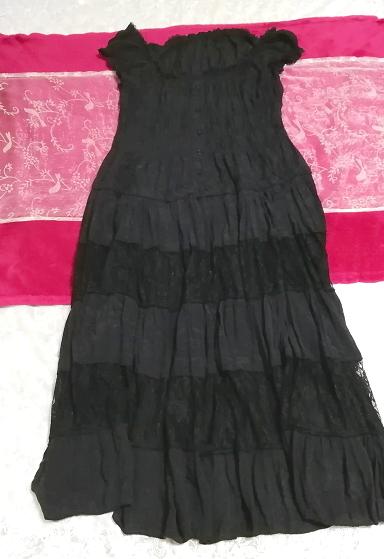 黒レースシフォンロングスカートマキシワンピース Black lace chiffon long skirt maxi onepiece_画像1