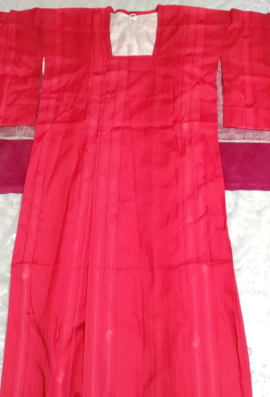 135cm赤紅色半天羽織/和服/着物 53.14 in red crimson/kimono_画像2