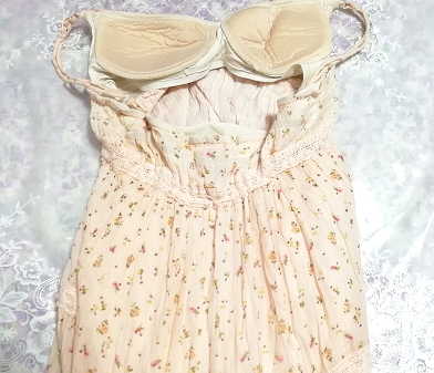 ピンク花柄綿コットン100%キャミソールロングスカートワンピースネグリジェ Pink flower pattern cotton camisole skirt dress/negligee_画像4