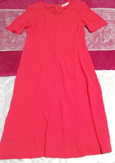 赤レッド半袖チュニックスカート/トップス/ワンピース Red red short sleeve tunic skirt/tops/onepiece_画像5