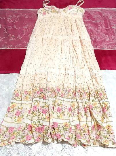 ピンク花柄綿コットン100%キャミソールロングスカートワンピースネグリジェ Pink flower pattern cotton camisole skirt dress/negligee_画像1