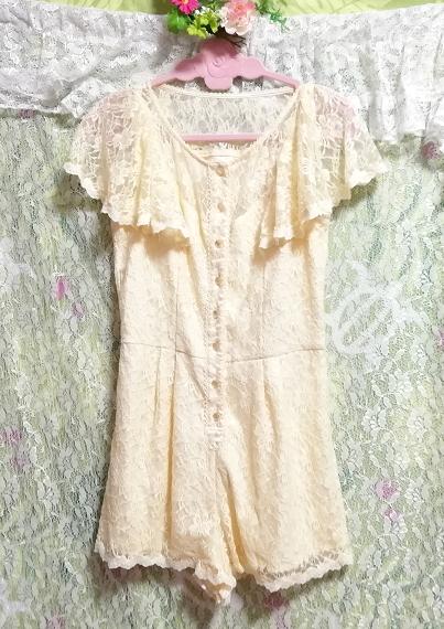 黄色レースキュロットワンピース/ネグリジェ Yellow lace culotte onepiece/negligee_画像2
