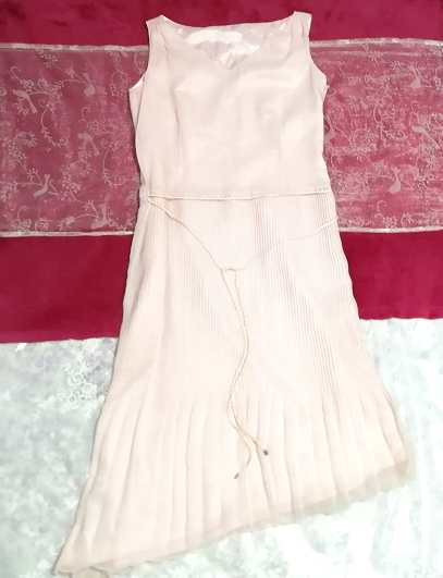 ピンクシフォンノースリーブ斜めカットスカートワンピース Pink chiffon sleeveless diagonal cut skirt dress_画像1