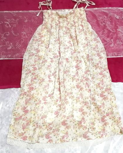 フローラルホワイト淡いピンク花柄シフォンキャミソールロングスカートワンピース Floral white flower chiffon camisole skirt/onepiece_画像1