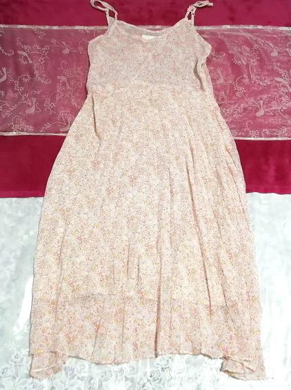 ピンクオレンジ花柄シフォンキャミソールロングスカートワンピース Pink orange floral pattern chiffon camisole long skirt dress_画像1
