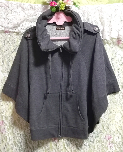 灰グレーポンチョ風カーディガンチュニック/トップス Gray poncho style cardigan tunic/tops_画像1