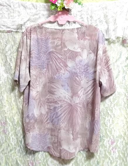 亜麻色ベージュ葉柄シフォンツーピーストップスとロングスカート2点セット Flax color beige petiole chiffon tops long skirt 2 piece set_画像5
