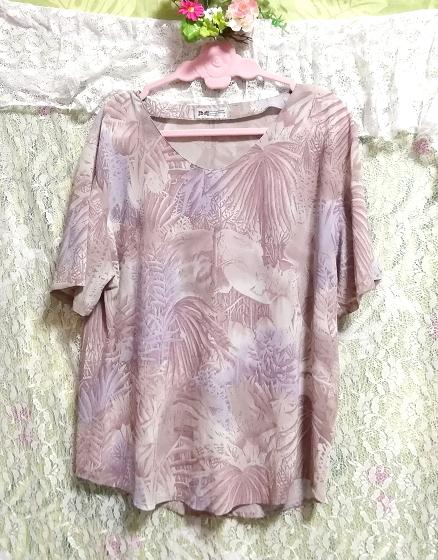 亜麻色ベージュ葉柄シフォンツーピーストップスとロングスカート2点セット Flax color beige petiole chiffon tops long skirt 2 piece set_画像4