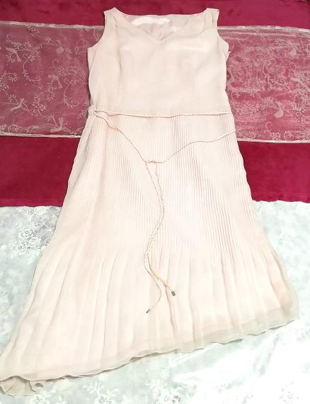 ピンクシフォンノースリーブ斜めカットスカートワンピース Pink chiffon sleeveless diagonal cut skirt dress_画像3