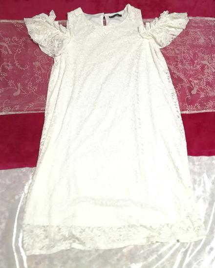 白ホワイト肩レース半袖チュニック/トップス/ワンピース White shoulder lace short sleeve tunic/tops/onepiece_画像1