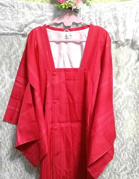 135cm赤紅色半天羽織/和服/着物 53.14 in red crimson/kimono_画像5