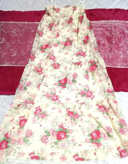 黄色花柄シフォンキャミソールロングスカートマキシワンピース Yellow flower pattern chiffon camisole long skirt maxi onepiece_画像1
