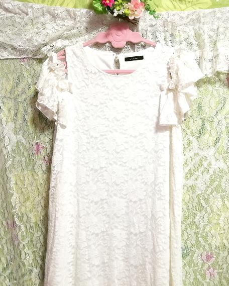 白ホワイト肩レース半袖チュニック/トップス/ワンピース White shoulder lace short sleeve tunic/tops/onepiece_画像4