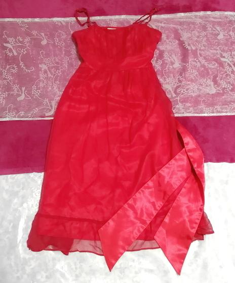 絹シルク100%真紅赤腰紐付キャミソールシフォンワンピースドレス Silk 100% crimson red camisole chiffon onepiece dress_画像1