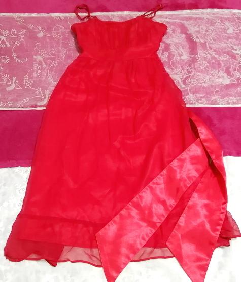 絹シルク100%真紅赤腰紐付キャミソールシフォンワンピースドレス Silk 100% crimson red camisole chiffon onepiece dress_画像2