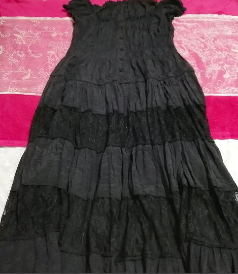 黒レースシフォンロングスカートマキシワンピース Black lace chiffon long skirt maxi onepiece_画像3