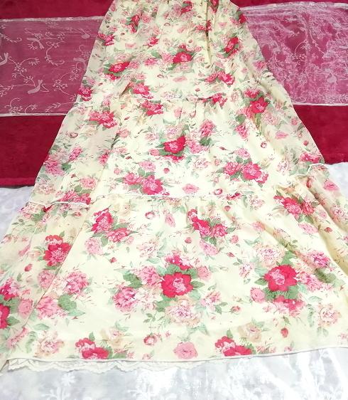 黄色花柄シフォンキャミソールロングスカートマキシワンピース Yellow flower pattern chiffon camisole long skirt maxi onepiece_画像3