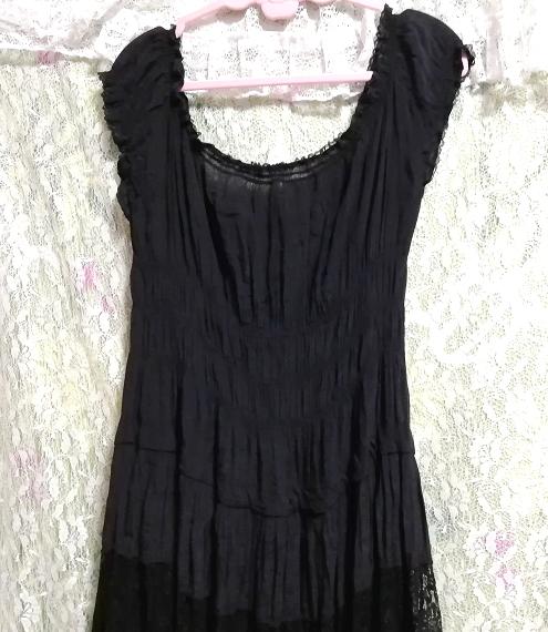 黒レースシフォンロングスカートマキシワンピース Black lace chiffon long skirt maxi onepiece_画像6