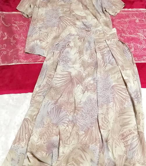 亜麻色ベージュ葉柄シフォンツーピーストップスとロングスカート2点セット Flax color beige petiole chiffon tops long skirt 2 piece set_画像2