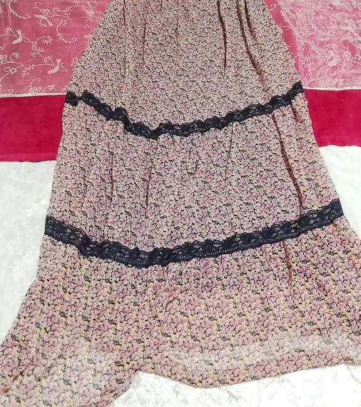 ピンク紫花柄シフォン紺レースキャミソールスカートマキシワンピース Pink purple flower chiffon navy lace camisole skirt maxi onepiece_画像2