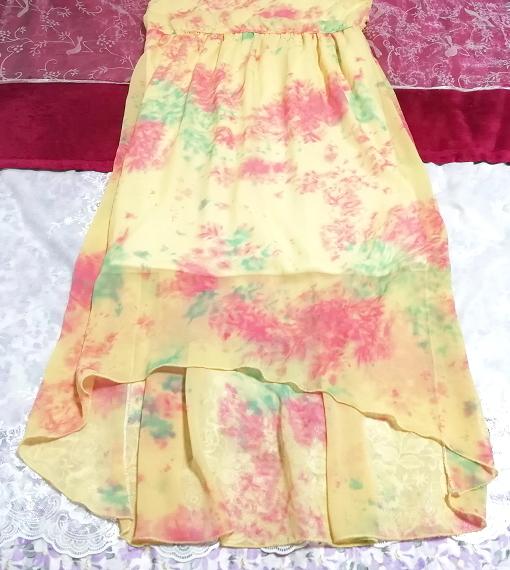 黄色淡い花柄ノースリーブシフォンロングスカートマキシワンピース Yellow flower pattern sleeveless chiffon long skirt maxi onepiece_画像3