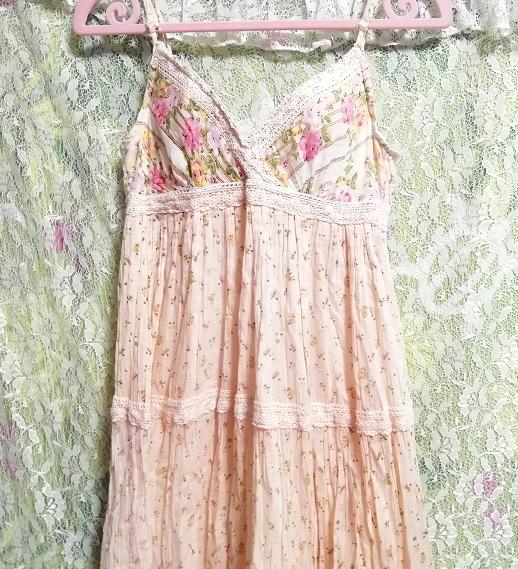 ピンク花柄綿コットン100%キャミソールロングスカートワンピースネグリジェ Pink flower pattern cotton camisole skirt dress/negligee_画像7