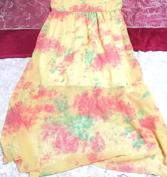 黄色淡い花柄ノースリーブシフォンロングスカートマキシワンピース Yellow flower pattern sleeveless chiffon long skirt maxi onepiece_画像4