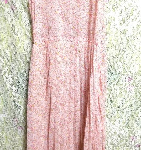 ピンクオレンジ花柄シフォンキャミソールロングスカートワンピース Pink orange floral pattern chiffon camisole long skirt dress_画像5